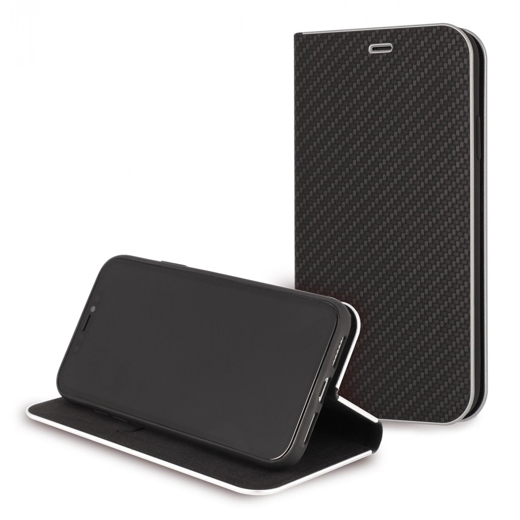Etui à clapet Folio carbone Noir pour apple iphone 5S iphone SE