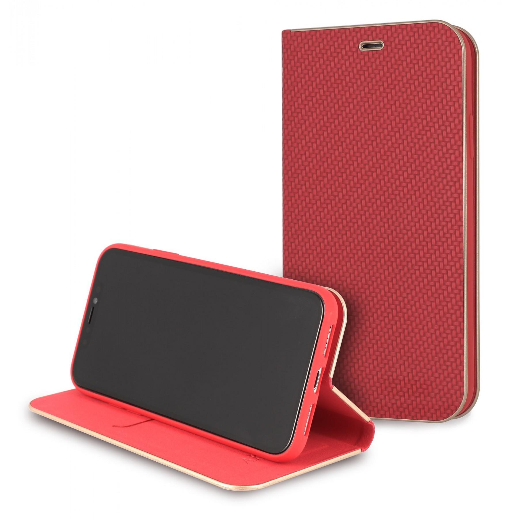 Etui à clapet Folio carbone rouge pour Samsung J3 2017