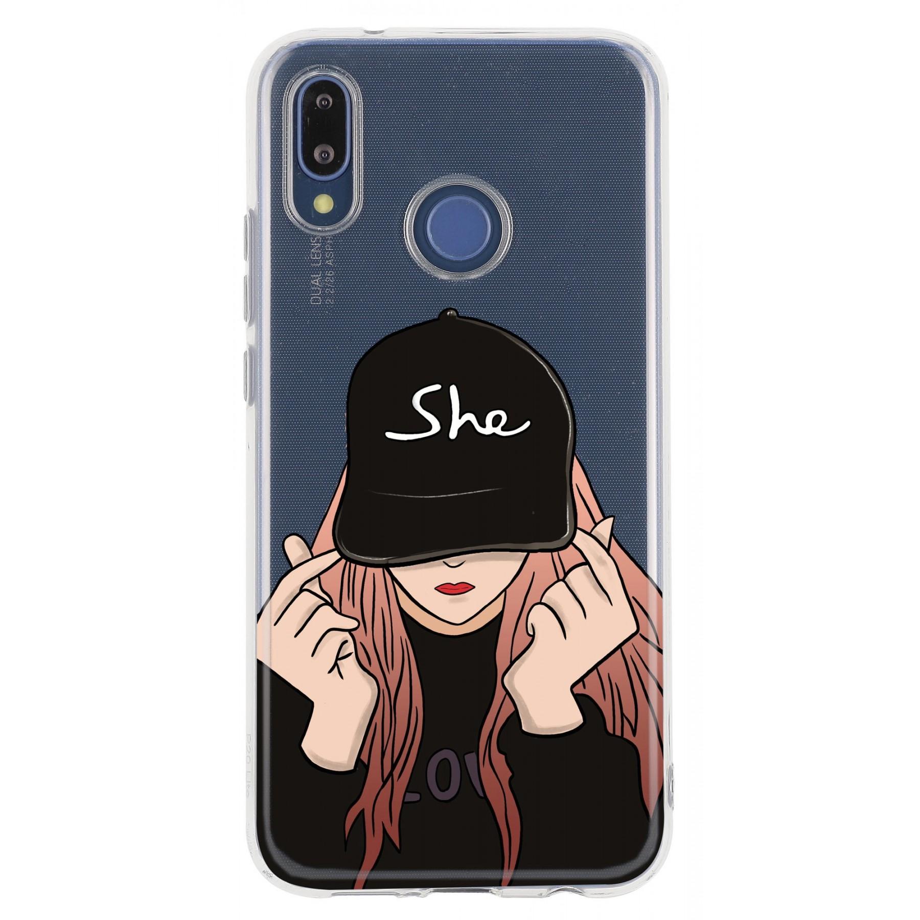 Coque girl casquette personnalisable pour Huawei P20 lite