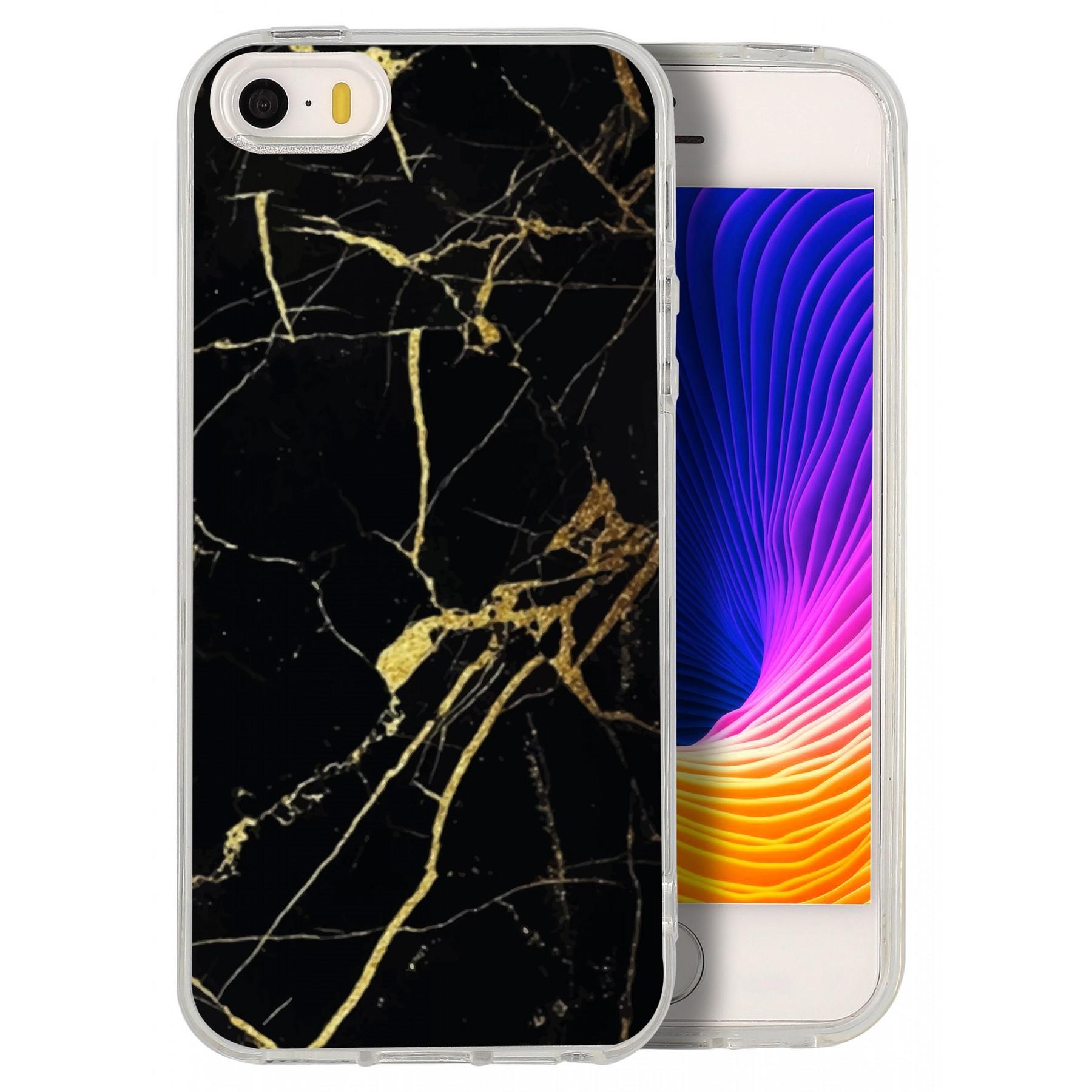 Coque marbre noir or pour Iphone 5S et SE
