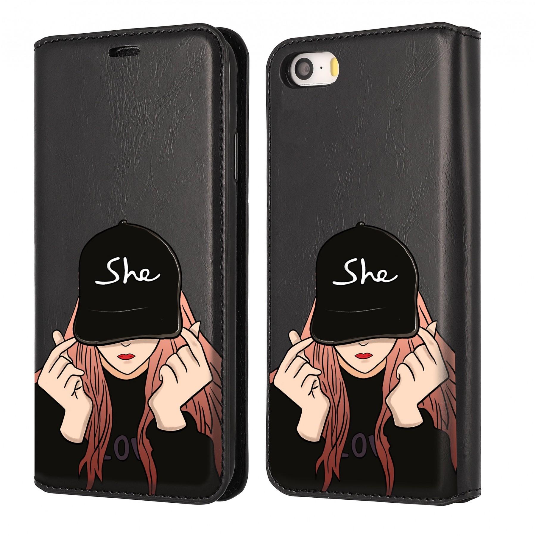 Etui à clapet girl casquette personnalisable pour Iphone 5S et SE